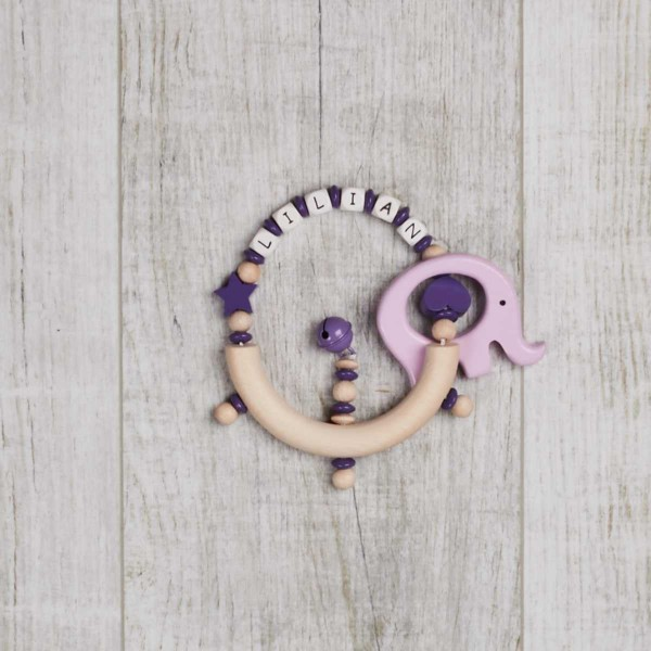wooden gripper with star, heart and elephant, purple