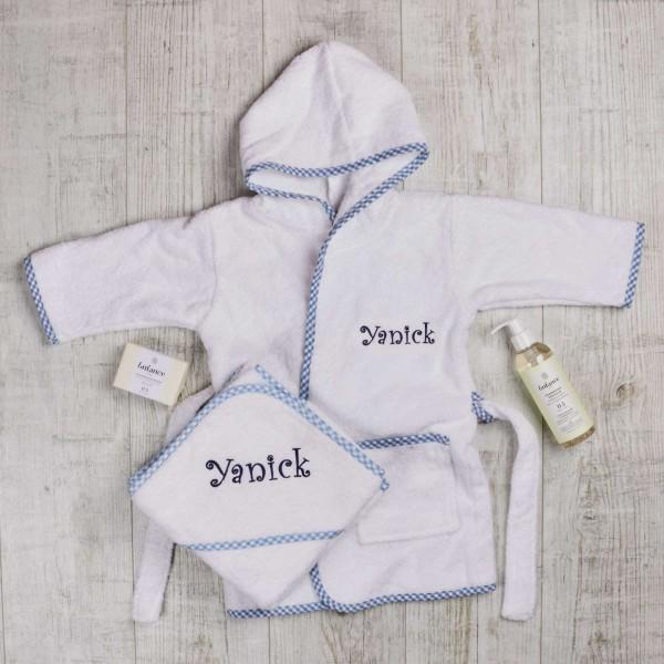 Luxury baby bath set - Bathrobe, Hooded towel, natural soap and shampoo, blue