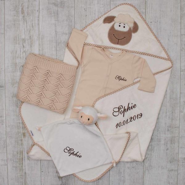 Baby-Set«Luxus», Kleidung, Decke & Kapuzentuch, Cremeweiss