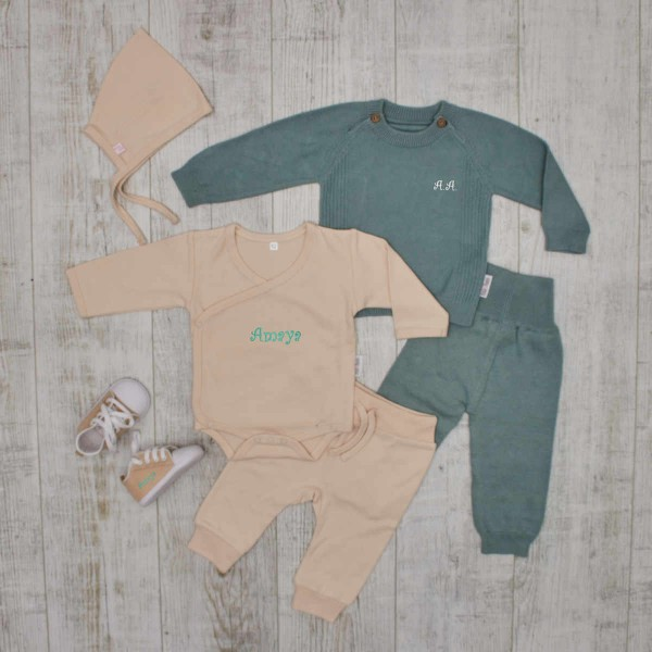 """""""Complete"""" knitted set - total outfit with shoes, mint"""