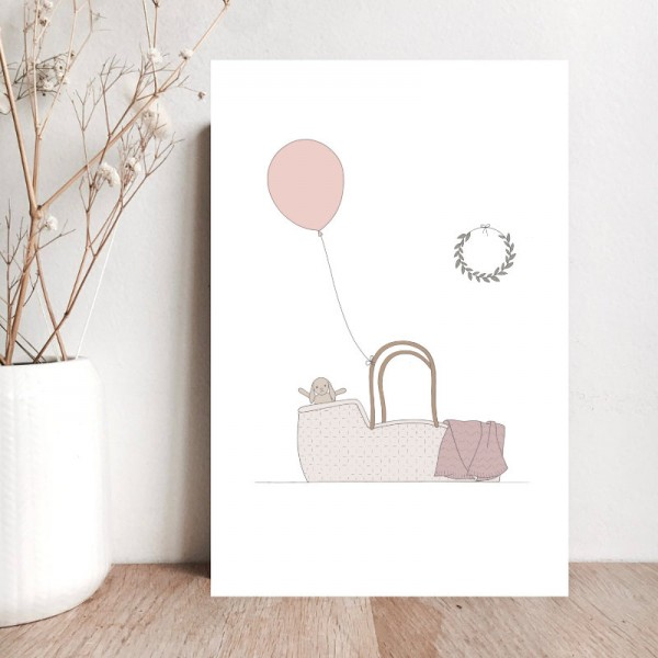 """A nice happiness to come"" card - pink"
