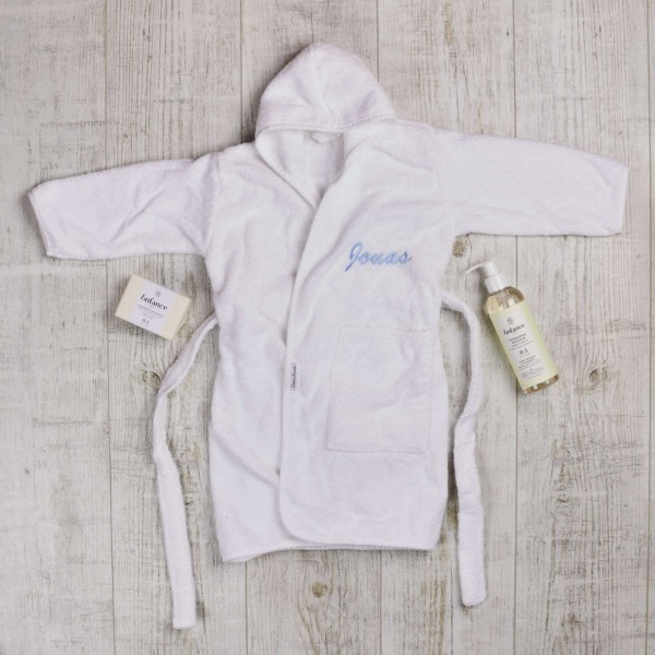 Lovely and Clean Baby Set with bathrobe, natural soap and shampoo, white