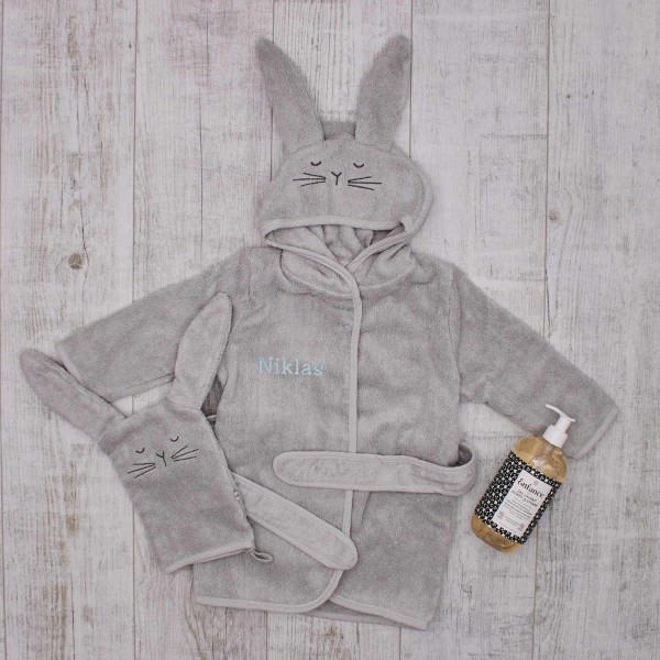 Baby bath giftset, Grey bunny