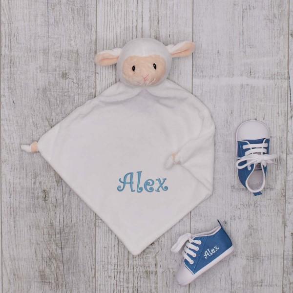 Comforter & Baby shoes, Lamb & Azur blue