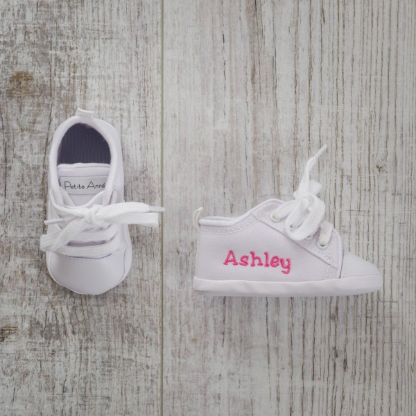 76de82268080 Personalised White Baby Shoes
