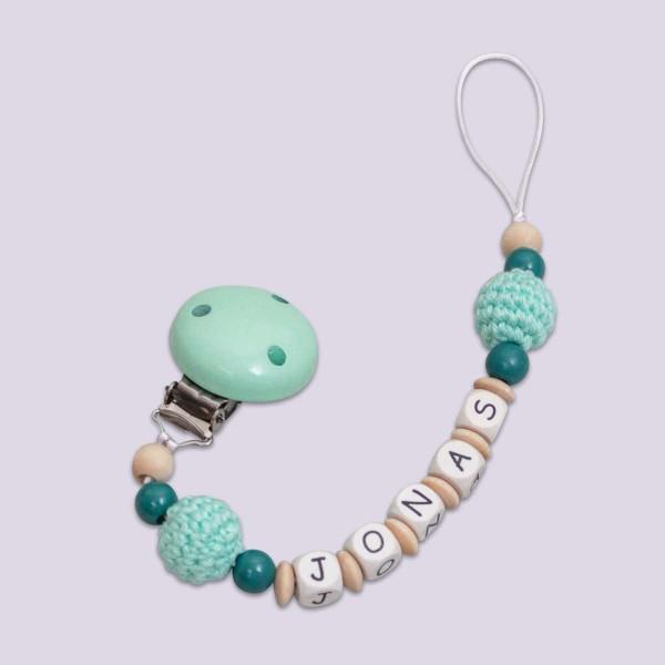 Chaîne à lolette en bois avec perle en crochet