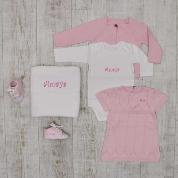 """""""Luxury"""" knitted set with baby shoes and blanket, pink"""