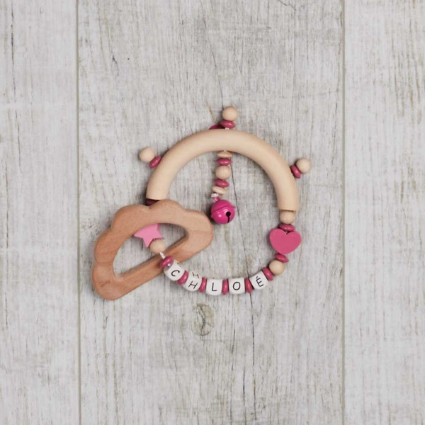 wooden gripper with star, heart and cloud, pink