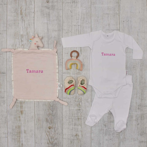 Rainbow set - booties, rattle, comforter & romper