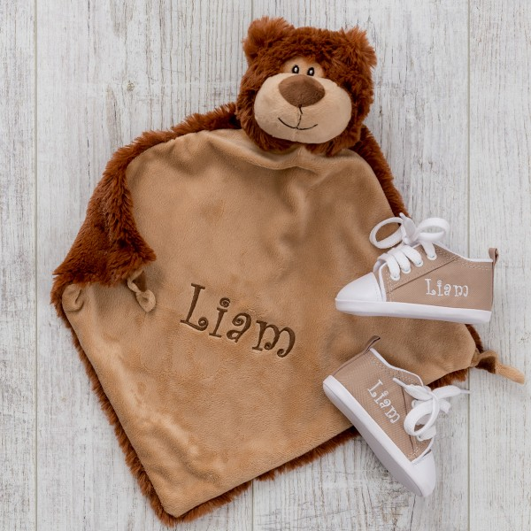 Comforter & Baby shoes, Bear und Sand