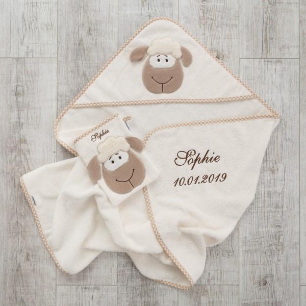 Waschlappen und Kapuzenhandtuch, Schafe