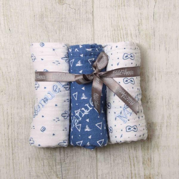 Muslin Blue, 3 pieces Set, Blue