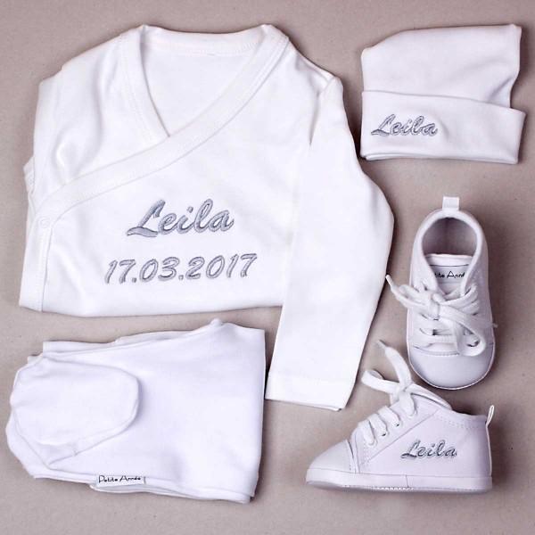 Kleidung & Babyschuhe Set - Weiss