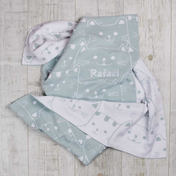 Couverture en tricot jacquard chatons, menthe