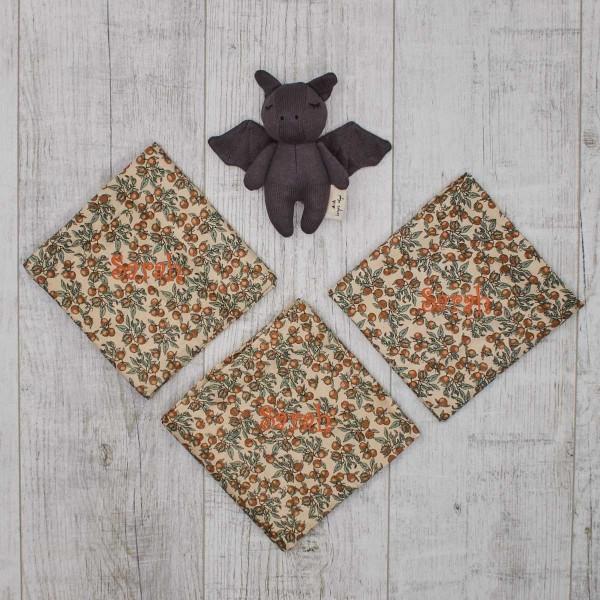 Mini Fledermaus Rassel und Bio Nuschis 3-er Set Orangen