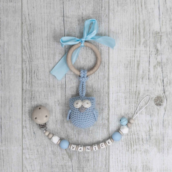 Pacifier Chain And Crochet Owl, Blue