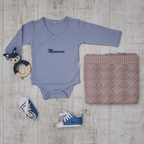 Vintage Baby-Set, Blau & Warmgrau