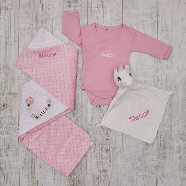 Complet Baby Set, unicorn & pink