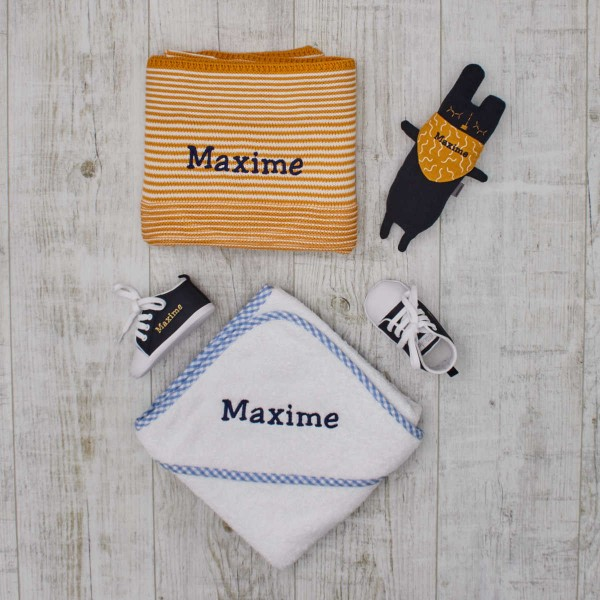 Mustard & Navy set with little bunny, blanket, towel and shoes