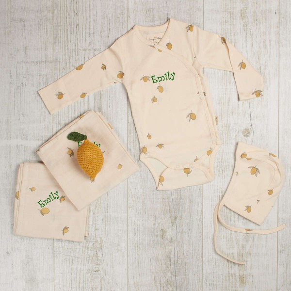 Lemon set - body, pants & 2 swaddles