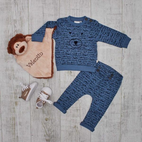 Set Sweatshirt & Hose Blau mit Schmusetuch & Babyschuhen