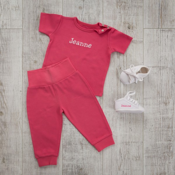 T-Shirt and Trouser Set, Fuchsia