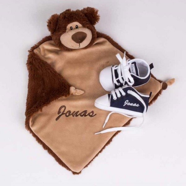 Schmusetuch Teddybär & Marineblaue Schuhe