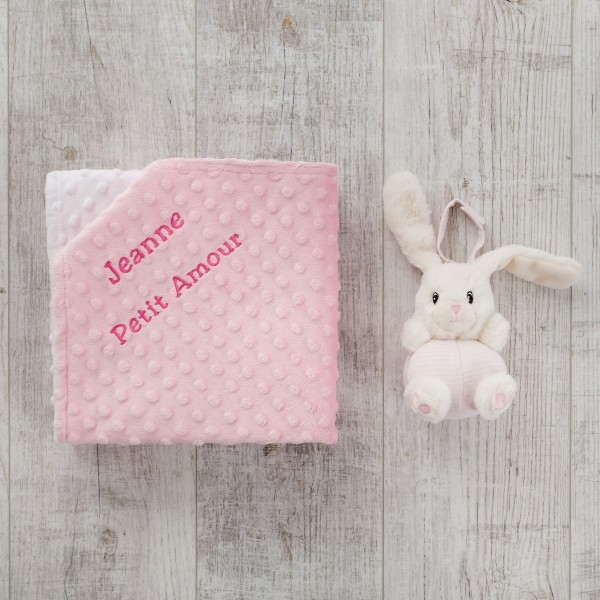 Chime & Minky Blanket, Rabbit und Pink