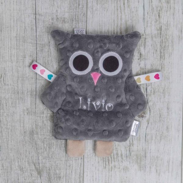 Papier froissé bébé, hibou gris