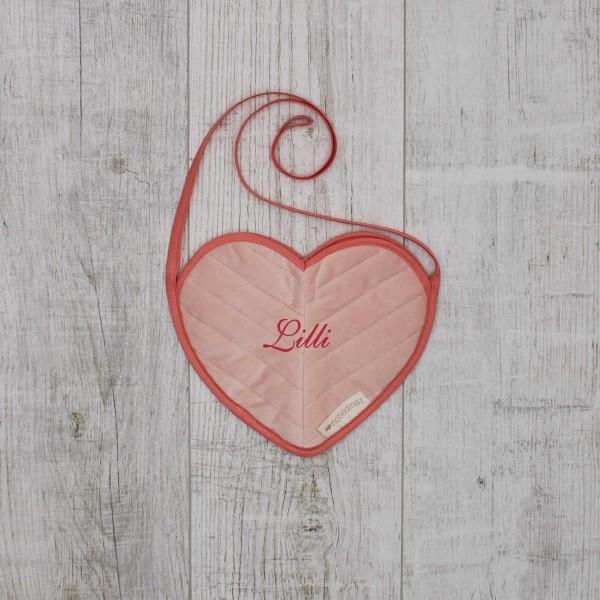 Mini Bag Velvet Heart, Pink