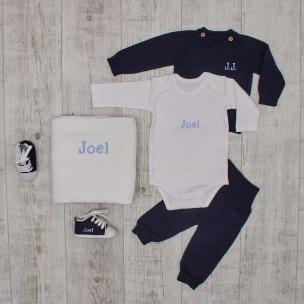 """""""Luxury"""" knitted set with baby shoes and blanket, navy"""