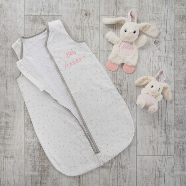 Sleeping bag with Chime and Teether, Stars und Pink