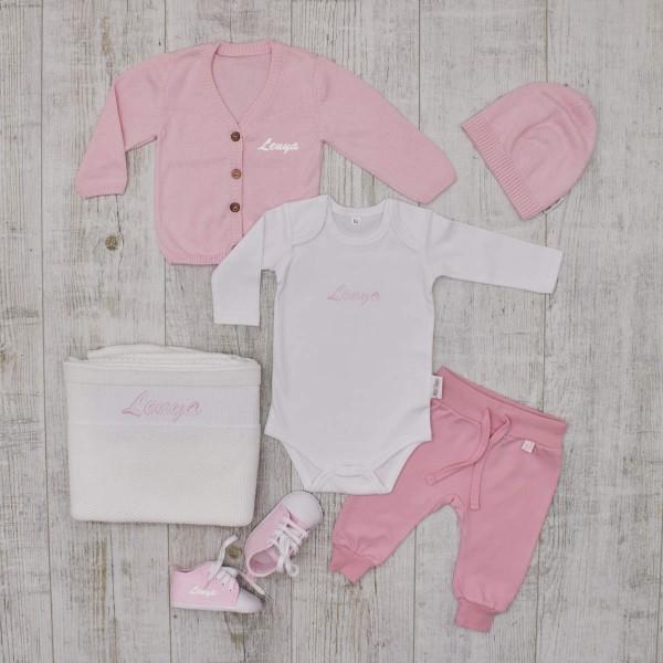 Komplettes Baby-Set «Luxus», Kleidung, Decke & Schuhe, Rosa & Weiss