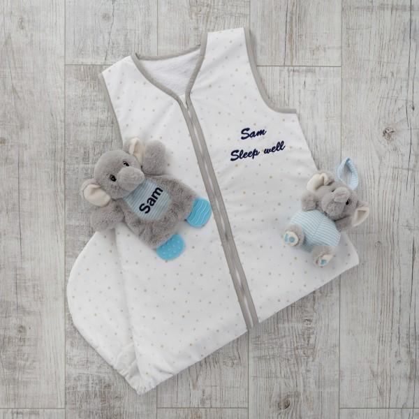 Schlafsack mit Plüschtieren