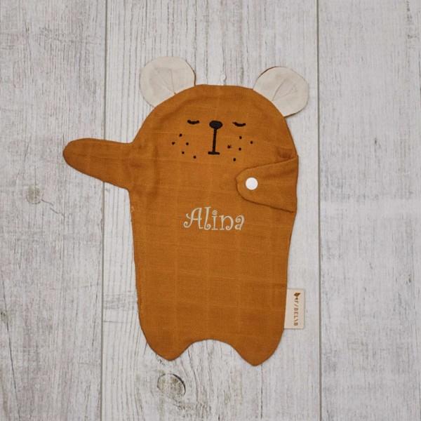 Doudou avec attache-sucette, ours