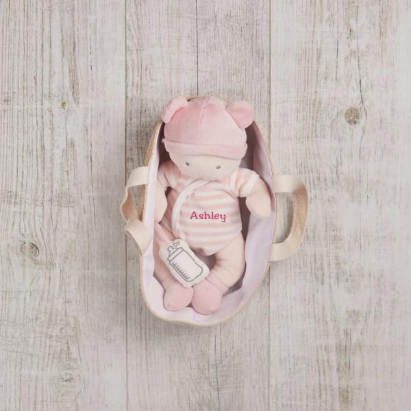 Babypuppe & Tragetasche, Rosa