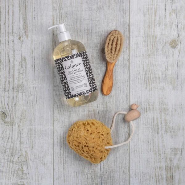 Kit Premier Soin - Brosse et éponge naturelle avec gel lavant peaux sensibles