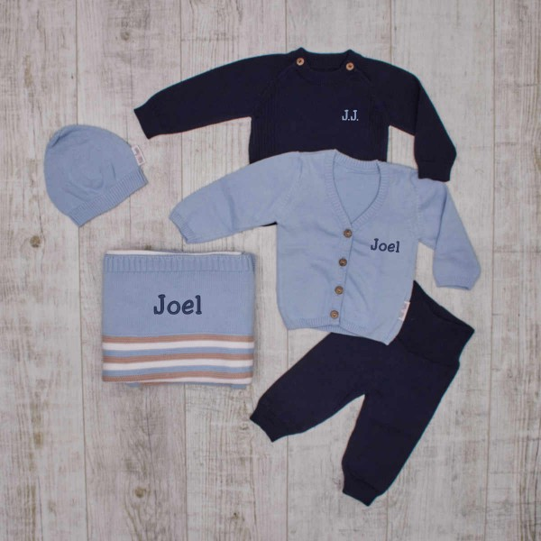 """Warmes Baby-Strickset""""Essentials"""", Blau"""