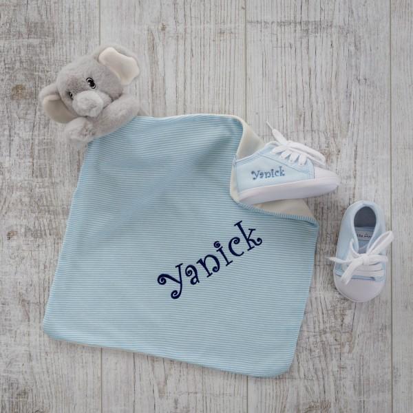 Doudou & chaussures bébé, éléphant et bleu