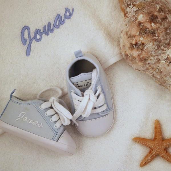 Kapuzenhandtuch & Babyschuhe Geschenkset - Blau