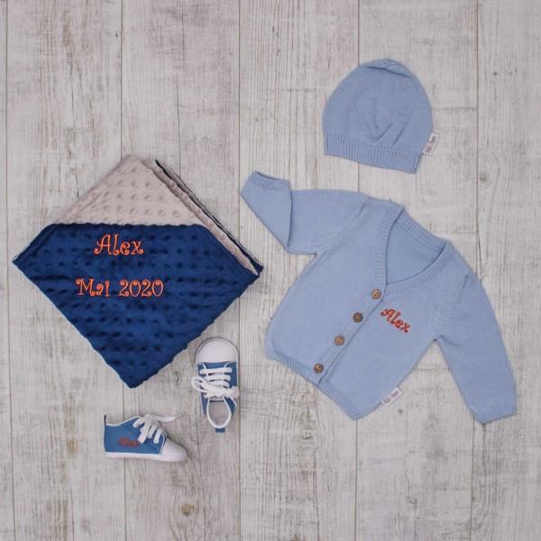 Pullover, Decke & Schuhe Set, Blau & Navy