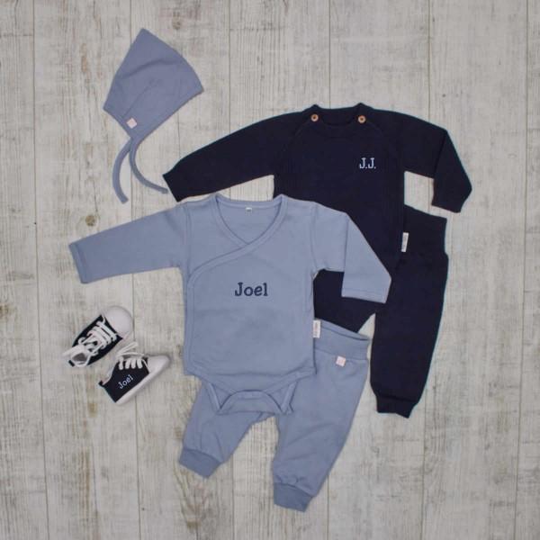 """Baby-Set""""Komplett"""", Strickpullover & Hose, Body, Hose & Mütze und Babyschuhen, Blau"""