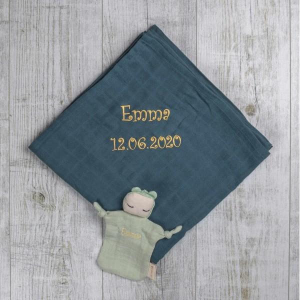 Wickeltuch Blau und Schmusetuch Puppe Organic Mint