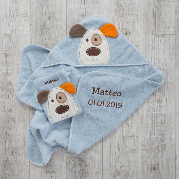 Waschlappen und Kapuzenhandtuch, Hunde