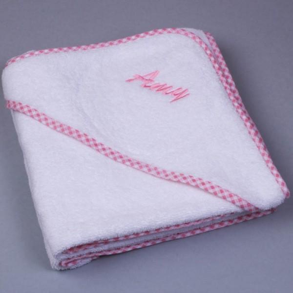 Personalisiertes Baby-Kapuzenhandtuch, Gingham rosa
