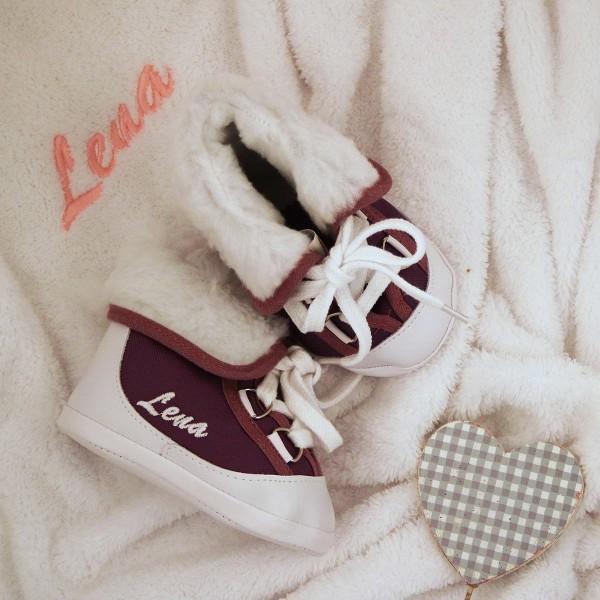 Baby-Winterstiefel und Decke - Lila