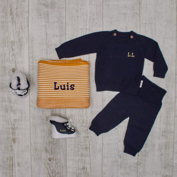 "Baby ""Complete"" knitted set with baby boots and blanket, navy"